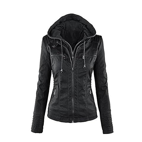 Nergivep Women PU Leather Zip Up Hooded Slim Biker Bomber Jackets Vintage Winter Overcoat