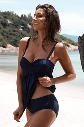 Aixy Frauen Solid Color Rüschen Tankini Top Bikini mit Dreieck Briefs Bottom Bikini Set Badeanzüge Navy