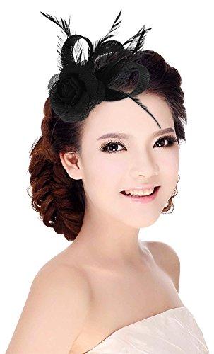 tor Feder Brosche Haar Clip Haarschmuck für Cocktail Hochzeit Teeparty Schwarz (Schwarz Feder Haar Clip)