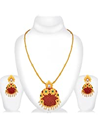 Spargz Antique Wedding Wear Gold Plated Ruby Emerald Flower Pendant Set For Women AIPS 285