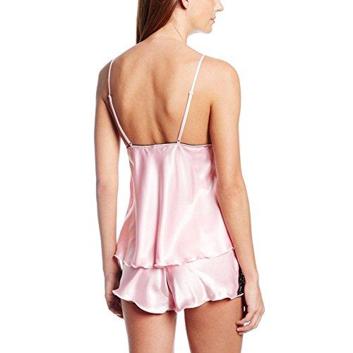 BOBORA Camicia Pizzo Vestaglia di raso vestaglia/pigiama set donna pantaloncini sexy Pink