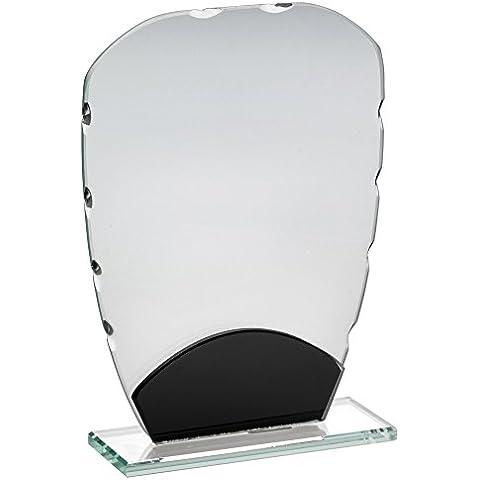Placa de vidrio trofeo con negro decoración, 6,5