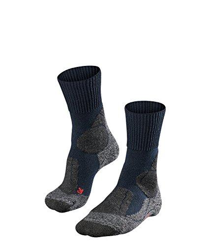 FALKE TK1 Damen Trekkingsocken / Wandersocken - blau, Gr. 39-40, 1 Paar, extra starke Polsterung, Merinowolle, feuchtigkeitsregulierend