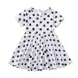 Livoral Mädchen-Weinlese-Kleid-Kind-Tupfen-Prinzessin Swing Country Rock Party Dress(Weiß,XX-Large)