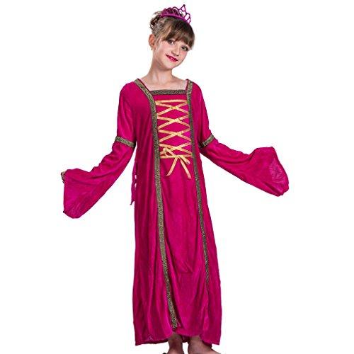 EraSpooky Kinder Prinzessin Kostüm Hübsches Kleid(Rot-Gelb, Medium)