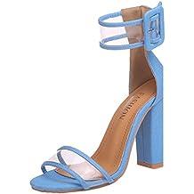 Sandalias para mujer Sandalias de tacón alto de mujer Zapatillas de plataforma de tobillo Zapatos de hebilla de tacón alto de mujer de verano LMMVP