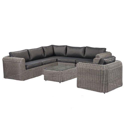 POLY RATTAN Lounge Gartenset GRAU Sofa Garnitur Polyrattan Gartenmöbel Neu - 2