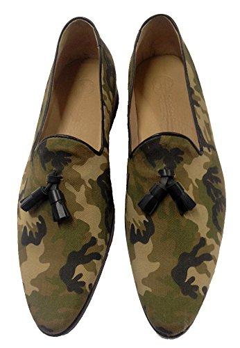 scarpe uomo mocassino, slippers in tessuto con nappine 43