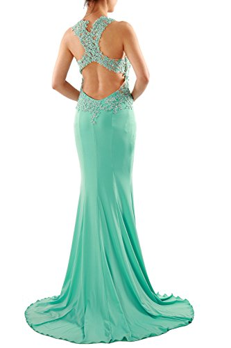 MACloth Women Mermaid Long Lace Jersey Long Prom Dress Formal Party Evening Gown Zartrosa