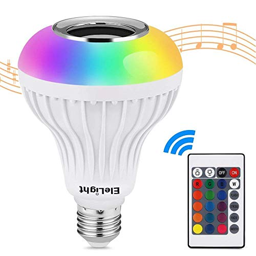 EleLight LED E27 Musica Bluetooth, Altoparlante Cambia Colore RGBW Luce Lampada con Telecomando per Palcoscenico, Casa, Camera da Letto, Party