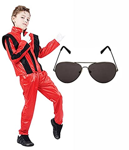 Boys Michael Jackson 80s Fancy Dress Costume with Aviator Sunglasses (7-9 years)