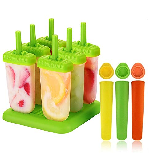 (Multicolour) - Ice Lolly Moulds, Augola 9Pcs Silicone Ice Pop Mould Set BPA Free Popsicle Moulds Jelly Bar Tray DIY Ice Cream Kitchen Tool with Base & Leak Proof Caps (9 Pcs)