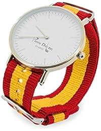 Reloj España con pulseras intercambiables con la bandera, presentado en estuche y bolsa