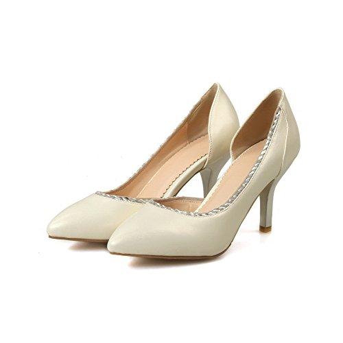 AllhqFashion Damen Stiletto Blend-Materialien Rein Ziehen Auf Spitz Zehe  Pumps Schuhe Cremefarben ...