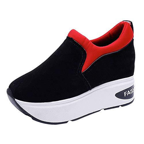Damen Sneaker Mädchen Mode Laufschuhe Freizeit Leder Freizeitschuhe Sportschuhe mit Reißverschluss… (EU:36.5, Rot - B)