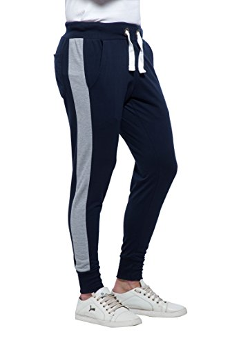 Alan Jones Side Panelled Men's Joggers Track Pants (JOG18-PNL01-NAVY-L_Large_Navy)