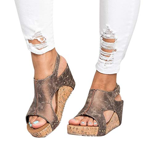 Damen Sandalen Keilabsatz Sommerschuhe Plateau Wedge Schuhe Knöchel Schnalle Peep Toe Elegant High Heels Schwarz Beige Braun Gold Gr.34-43 BR40