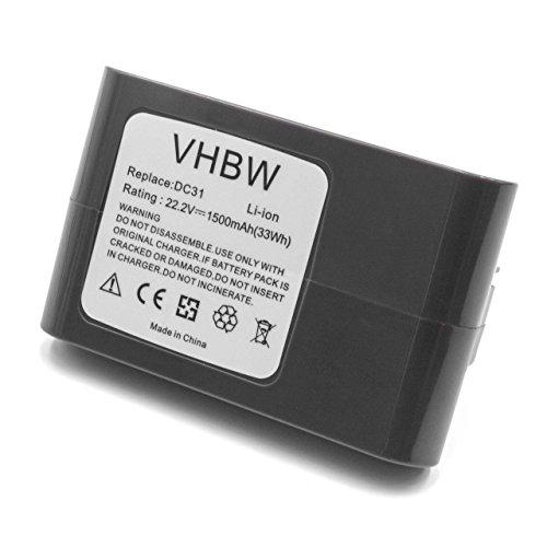 vhbw Li-Ion Akku 1500mAh (22.2V) grau für Staubsauger Home Cleaner Heimroboter Dyson DC30, DC31 Animal, DC34, DC34 Animal, DC35, DC35 Multi Floor -