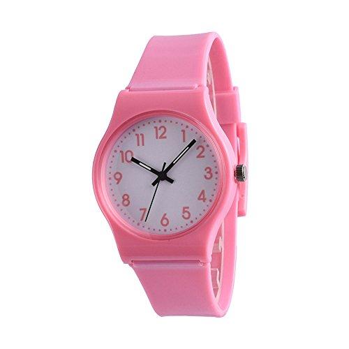 Patifia Damen Uhr, Mode-einfache Freundin-Uhr-kleine frische kreative Uhr Lässige Nette Mode Bunte Strap weiche Mädchen-Uhr-Freizeit-Uhren kinderuhr mädchen Sport Quarz Handgelenk Lernen Armbanduhr