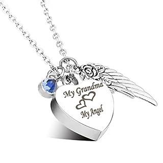 Engraved Personalised Cremation Urn Jewellery My Grandma My Angel Angle Wings Birthstone Pendant Memorial Ash Keepsake Necklace