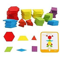Haloku Iq Legno Tangram Puzzle, Legno Blocchi Montessori Forme Motivo Scatola da Montare per Giochi