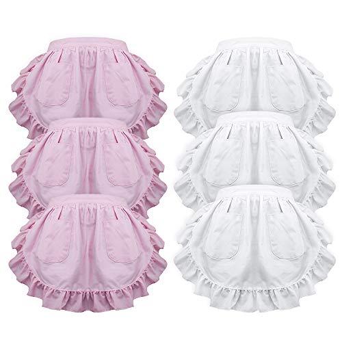 (aspire Damen-Taillen-Schürze Viktorianisches Dienstmädchen-Kostüm, Spitze, Weiß, Halbschürze, Küche, Party, Gastgeschenke mit Zwei Taschen, Pink White Ruffles 6 Pcs, M)
