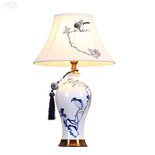 Hand bemalt Keramik Tischlampe moderne minimalistische Nachtleselampe blau und weiß Porzellan Lampe für Wohnzimmer Schlafzimmer Nachttisch Augen-Pflege Lampen(E27)2Stück -