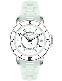 André Belfort 410113 - Reloj analógico de mujer automático con correa de cerámica blanca - sumergible a 50 metros