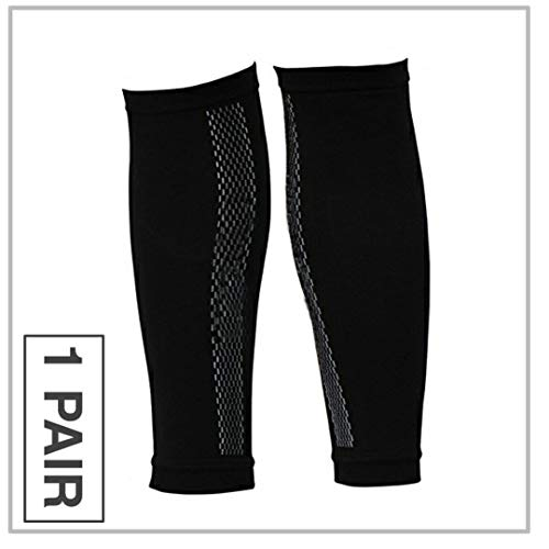 Privfit Calf Compression Sleeve - Leg Compression Socks for Shin Splint, Calf Pain Relief - Men, Women, and Runners - Calf Guard for Running, Cycling - 1 Pair (Black)