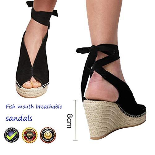 Plataformas Mujer Tacón Alto Cuña Alpargatas Sandalias, Verano Cuero Punta Abierta Zapatos Romanas...