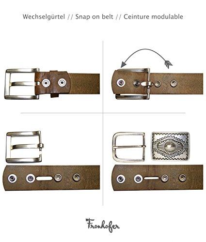 FRONHOFER Trachtengürtel Herren Damen, Hirschkopf, Hirsch Motiv Schnalle. Gürtel Trachten braun, XXL-Gürtel, 17760, Größe:Bundweite 85 cm, Farbe:Braun -