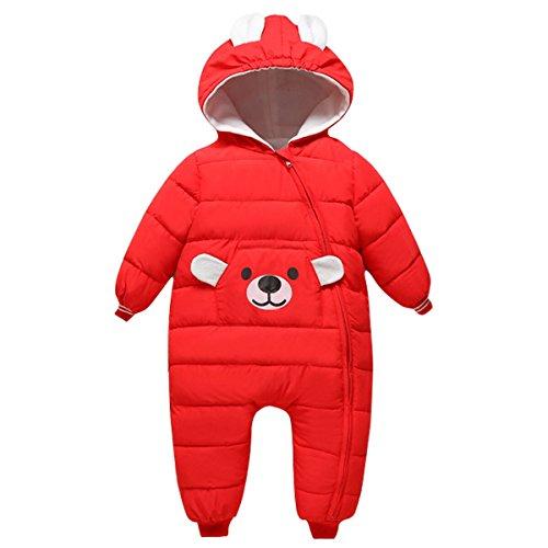 Bebone Baby Schneeanzug Jungen Strampler Mädchen Overall Winter Babykleidung (9-12 Monate, Herstellergr. 90, Rot)