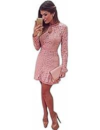Gaddrt Women Sexy Pink Hollow Lace Long Sleeve Slim Dress Party Evening  Dress Pink S- 51ef4d935fd9