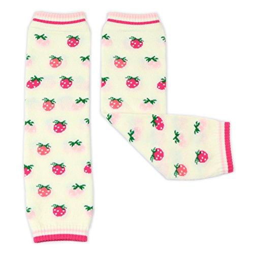 Dotty Fish Mädchen Beinstulpen Baby und Kleinkind - Creme und rosa Erdbeeren - Einheitsgröße -