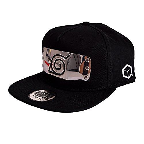 Naruto Shippuden Snapback Cap Konoha Metall Symbol Baumwolle schwarz