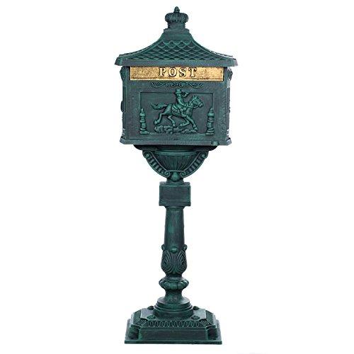 Antiker großer und sehr edler Briefkasten GLY 05 Antikgrün Standbriefkasten, Säulenbriefkasten, Nostalgischer Englischer Briefkasten Alu - Guss 116 cm hoch . Mit riesigem Postfach für mehr Volumen.