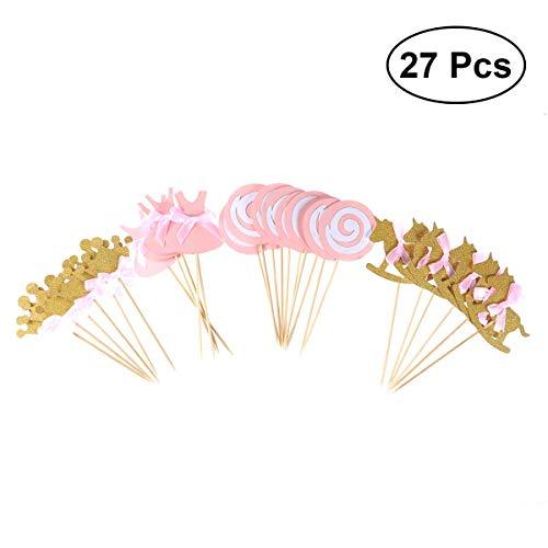 BESTONZON 27 Stück Rosa Prinzessin Themed Cupcake Toppers Geburtstag Party Kuchen Picks Lebensmittel Dekoration Lieferungen für Geburtstagsparty (Krone/Lollipop / Trojanisches Pferd/Tuch)