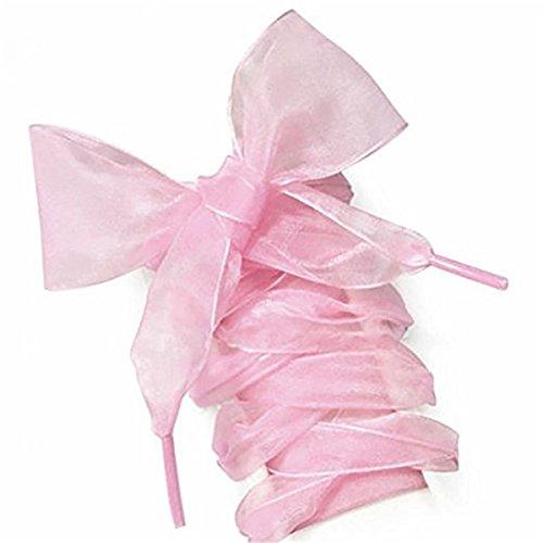 Fashion organza nastro scarpe sportive scarpe sportive con lacci piatti per scarpe - 110*4 cm 1 paio (rosa)
