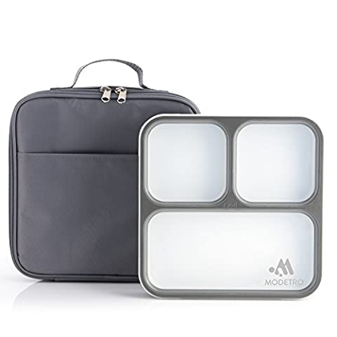 Bento Lunch Box - 3 Portion Control Leak Proof Compartments - Includes Matching Adult Insulated Lunch Bag - Ultra Slim Lunchbox Container (Dark