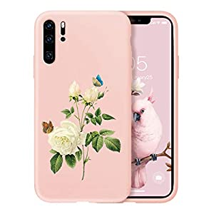 Oihxse Compatible with Huawei P20 Case Cover with Design, Soft TPU Back Shell [Anti-Slip] [Anti-Fade] [Support Wireless Charging] Slim Fit Pink Matte Texture Protective Bumper Skin-White Rsse   2