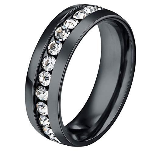 SLMDSXIJO Modischer Ring Titan Edelstahl CZ Stein Ring für Frauen Hochzeiten Ring Paar Ringe Valentinstag, schwarz, 8