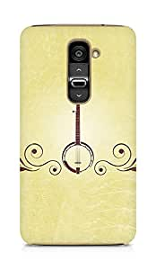 Amez designer printed 3d premium high quality back case cover for LG G2 (Musical instrument guitar green brown)