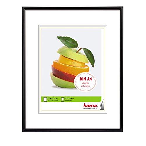 """Hama Bilderrahmen """"Sevilla"""", DIN A4 (21 x 29,7 cm) mit Papier-Passepartout 15 x 20 cm, hochwertiges Glas, Kunststoff Rahmen, zum Aufhängen, schwarz"""