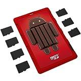 DiMeCard micro8 Porte Cartes Mémoire microSD ANDROID 4.4 EDITION (Ultrafin, format carte de crédit, étiquette inscriptible)