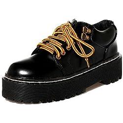 ZQ hug Scarpe Donna-Sneakers alla moda-Casual-Creepers / Punta arrotondata / Chiusa-Plateau-Finta pelle-Nero , black-us8 / eu39 / uk6 / cn39 , black-us8 / eu39 / uk6 / cn39