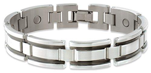 Wohlfühl Magnetschmuck Gliederarmband, Magnetarmband Stainless Black, Bicolor Edelstahl/Rubber-Magnetarmband mit mindestens 7 hochwertigen 1200 Gauß starken Power Samarium-Cobalt (SmCo) Magneten, M
