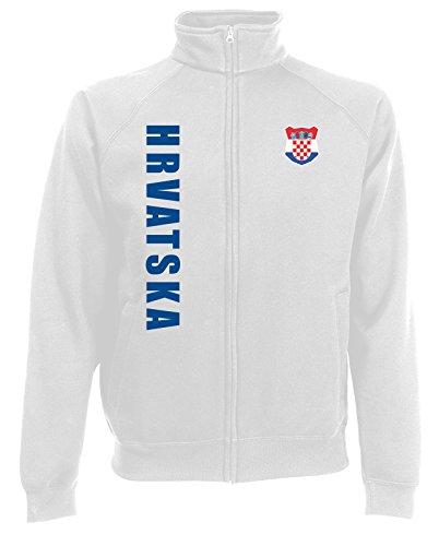 AkyTEX Kroatien Hrvatska Sweatjacke Jacke Trikot Wunschname Wunschnummer (Weiß, S)