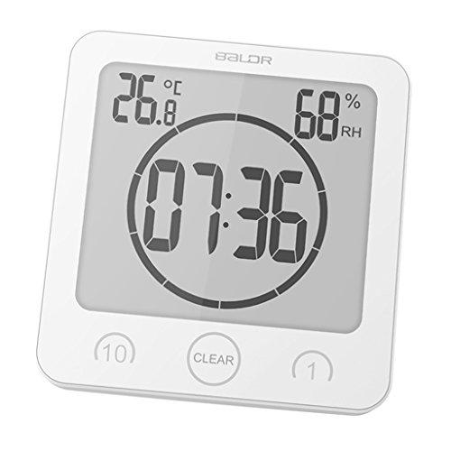 D DOLITY Digital Badezimmeruhr Thermometer Hygrometer Dusche Uhr mit Saugnäpfe - - Lcd Dusche Uhr