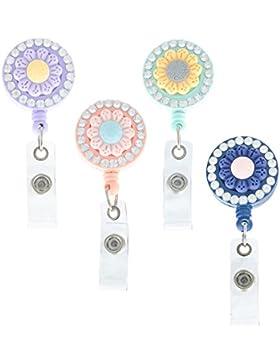 Soleebee Ausweishülle JoJo Ausweisjojo Schlüsselanhänger Ausweishalter Retractable Key Ring ziehen mit 360 ° drehbarer...