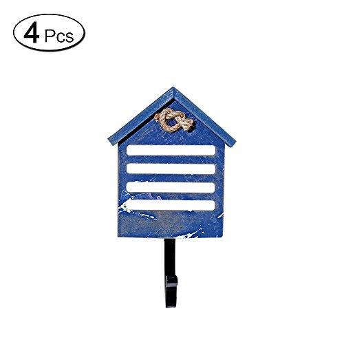 3 Stück Wintermütze (Zhi Jin, 1Stück handgefertigt Holz Haken für Wandmontage, Retro zum Aufhängen, mit Deko-Winter Mütze blau)